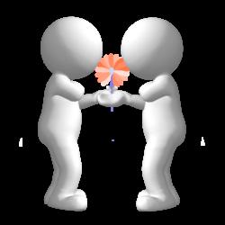 lächelnde 3d Figuren mit Blumenstrauß
